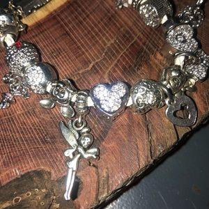 European charm bracelet with charms